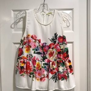 White and Floral Peplum Top